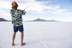 Lago americano ice Fishing White del pescatore Immagini Stock Libere da Diritti