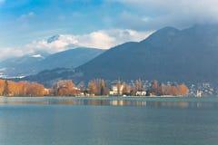 Lago annecy all'inverno Fotografia Stock Libera da Diritti