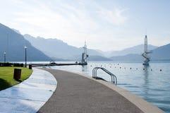 Lago annecy e scheda di immersione subacquea Fotografia Stock Libera da Diritti