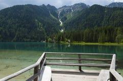 Lago Anterselva en la última primavera Imágenes de archivo libres de regalías