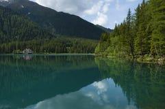 Lago Anterselva en la última primavera Imagen de archivo