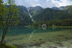 Lago Anterselva en la última primavera Fotografía de archivo libre de regalías
