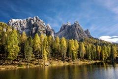 Lago Antorno, Misurina L'Italia Immagine Stock