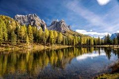 Lago Antorno, Misurina L'Italia Fotografie Stock