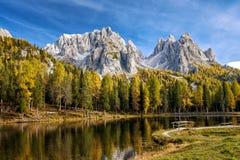 Lago Antorno, Misurina L'Italia Fotografia Stock Libera da Diritti