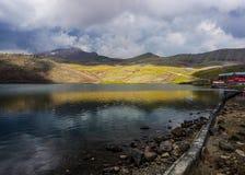Lago Aragats del supporto fotografia stock libera da diritti
