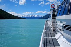 Lago Argentino. Sailing aboard a tour boat on Lago Argentino in Los Glaciares National Park Stock Images