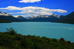 Lago Argentino, Argentina. Turqouise argentine lake with mountains in background and greenery in foreground. Blue sky with clouds Stock Photography