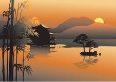 Lago asiatico illustrazione vettoriale