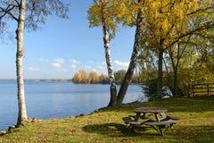 Lago autumn com banco Imagens de Stock