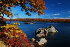 Lago autumn con le rocce e gli alberi Immagine Stock Libera da Diritti
