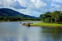 Lago, autunno, bello, bellezza, blu, luminoso Fotografie Stock Libere da Diritti