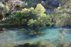 Lago azul claro en las cuevas de Jenolan Imágenes de archivo libres de regalías