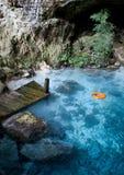 Lago azul con la boya de vida anaranjada Imágenes de archivo libres de regalías