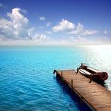 Lago azul de los barcos de Albufera en el EL Saler Valencia Fotos de archivo libres de regalías