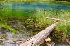 Lago azul del géiser en las montañas de Altai Fotografía de archivo