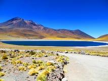 Lago azul Meniques, San Pedro de Atacama, o Chile Imagem de Stock Royalty Free