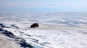 Lago Baikal congelado Foto de Stock Royalty Free