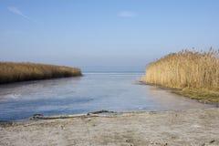 Lago Balaton no inverno foto de stock royalty free