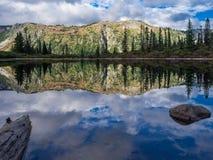 Lago bench, Mt Rainier National Park imagen de archivo libre de regalías