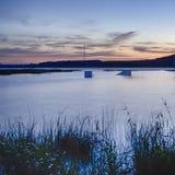 Lago bielorruso nacional Braslav en la puesta del sol Imágenes de archivo libres de regalías