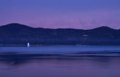 Lago big Bear en la salida del sol Foto de archivo