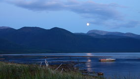 Lago Bikal costato nella notte Fotografie Stock