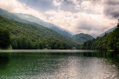 Lago Biogradsko no parque nacional Biogradska Gora fotografia de stock