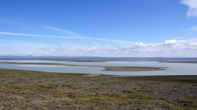 Lago Blöndolon no fim do Kjolur foto de stock royalty free