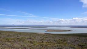Lago Blöndolon sulla conclusione del Kjolur Fotografia Stock Libera da Diritti