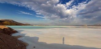 Lago blanco y la sombra del fotógrafo Fotografía de archivo