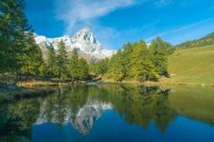Lago Bleu (Włochy breuil-Cervenia,) Zdjęcia Royalty Free
