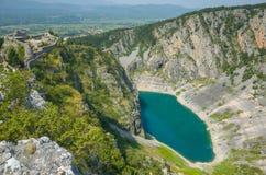 Lago blu Imotski Croazia Fotografia Stock Libera da Diritti