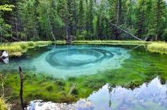 Lago blu stupefacente del geyser nelle montagne di Altai, Russia Fotografia Stock
