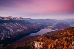 Lago Bohinj da Vogel nel tramonto Fotografie Stock