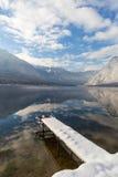 Lago Bohinj durante l'inverno Immagini Stock Libere da Diritti