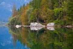 Lago Bohinj en el otoño, Eslovenia Foto de archivo libre de regalías