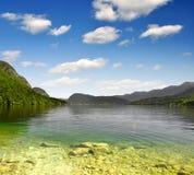 Lago Bohinj nelle alpi di Julian Fotografia Stock Libera da Diritti