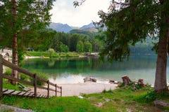 Lago Bohinj, situato nella valle di Bohinj di Julian Alps Fotografia Stock Libera da Diritti