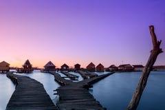 Lago Bokodi nel tramonto Fotografie Stock Libere da Diritti