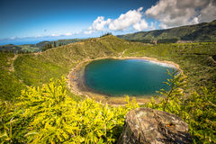 Lago bonito de Sete Cidades, Açores, Portugal Europa Imagens de Stock