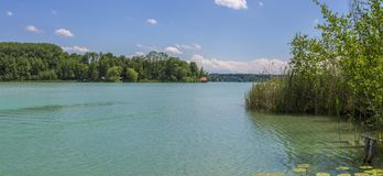 Lago bonito Wörthsee com ilha Wörth tomado de um cais Paisagem verde com casa de campo, junco e as plantas aquáticas em um clar fotografia de stock royalty free