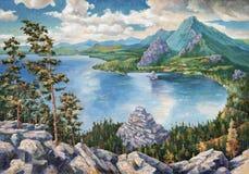 Lago Borovoye em Cazaquistão Uma pintura a óleo na lona ilustração stock