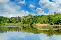 Lago, bosque del verano en los bancos y cielo imagen de archivo