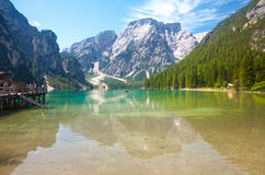 Lago Braies Foto de Stock Royalty Free