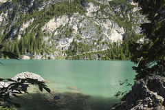 Lago Braies Fotografia Stock Libera da Diritti
