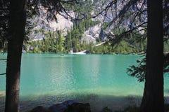 Lago Braies Fotografie Stock Libere da Diritti
