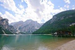 Lago Braies - dolomia, Italia Immagini Stock Libere da Diritti