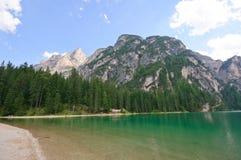 Lago Braies - dolomia, Italia Fotografia Stock Libera da Diritti