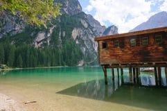 Lago Braies - dolomia, Italia Fotografie Stock